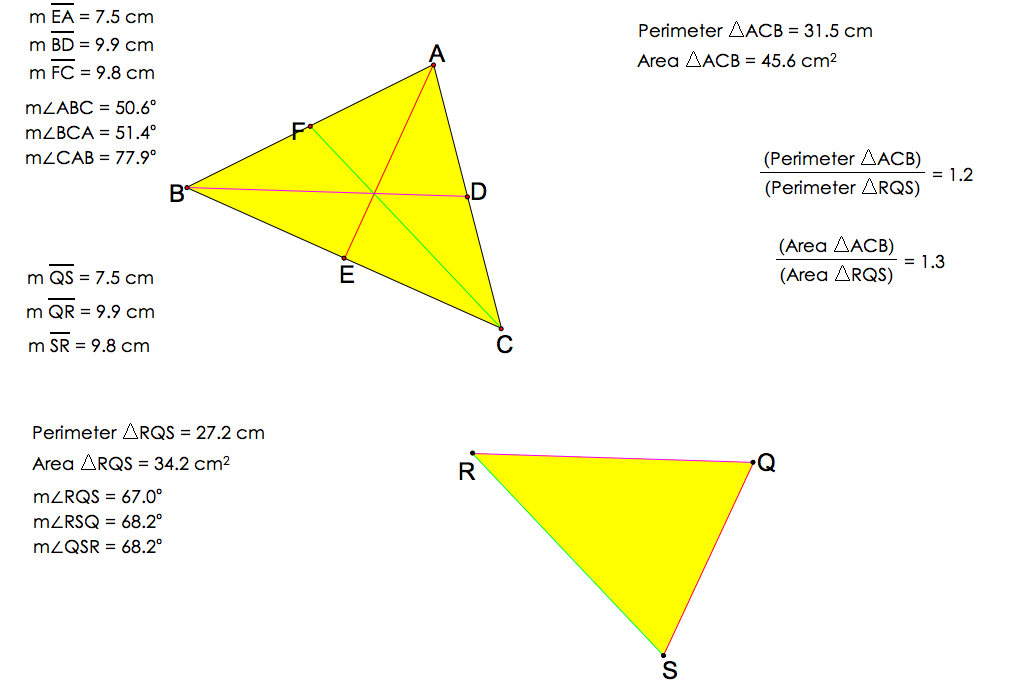 relationship between perimeters of similar triangles word