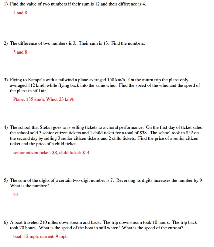 Linear Equations Word Problems With Answers Tessshebaylo – Solving Systems of Linear Equations Worksheet