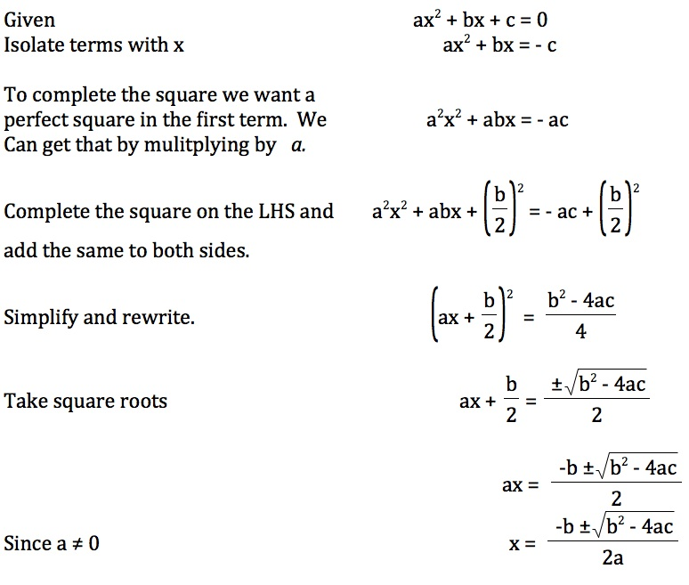 Teaching The Derivation Of Quadratic Formula. Approach First Subtracts C From Both Sides And Them Multiplies By A To Get Perfect Square In The Term Steps Explanations Are. Worksheet. Pleting The Square Questions Worksheet At Clickcart.co
