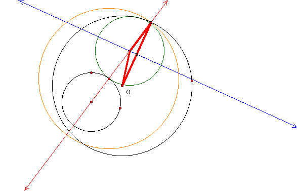 how to find point of tangency between two circles
