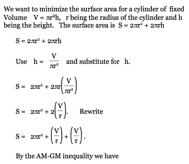 Using the arithmetic mean geometric mean inequality in problem minimum surface area of a can of fixed volume ccuart Choice Image