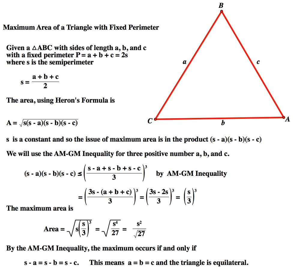 Using The Arithmetic Mean Geometric Mean Inequality In